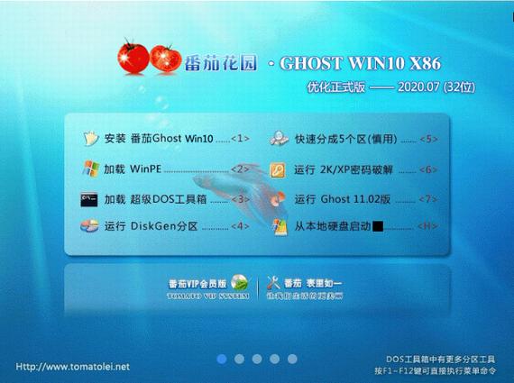 番茄花�@ GHOST WIN10 X86 ��化正式版 V2020.07 (32位)